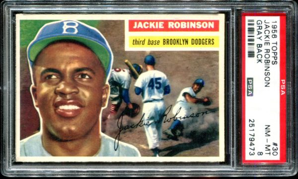 1956 Topps #30 Jackie Robinson Gray Back PSA 8