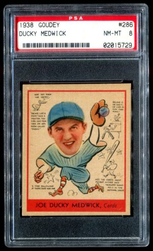 1938 Goudey #286 Ducky Medwick PSA 8